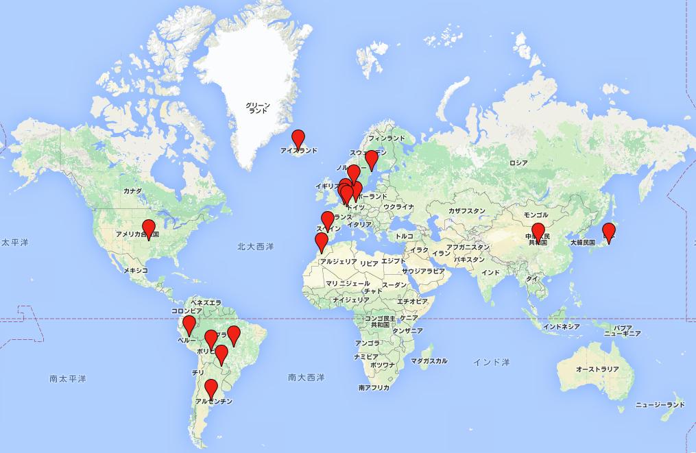 私が今回の世界一周で訪れた国です。こうして見ると全然周れてないなと感じますね。